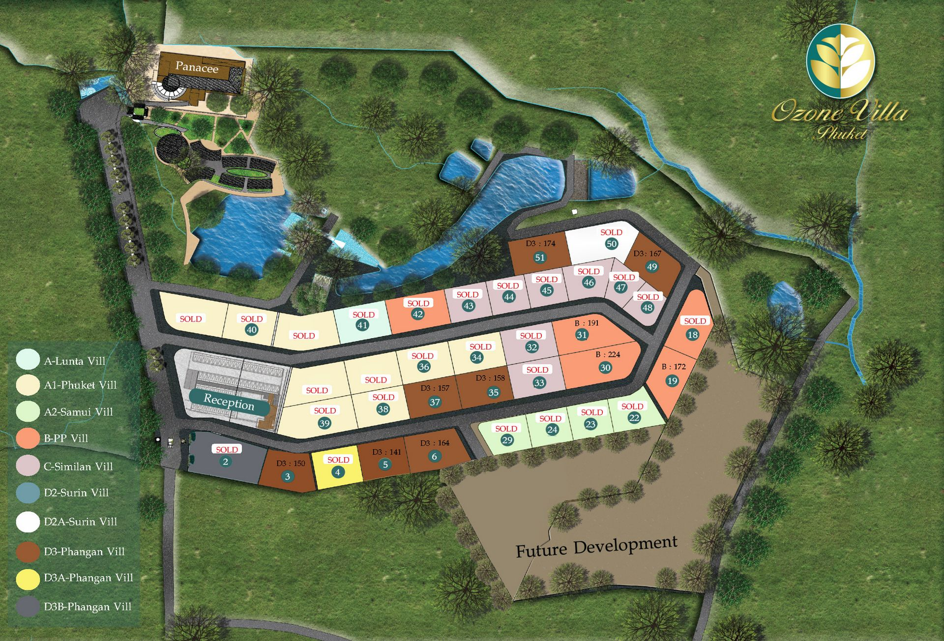 Ozone Villa PHUKET -  Master Plan and available units for sale